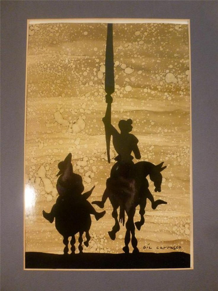 DON QUIXOTE & SANCHO SILHOUETTE PAINTING GIL CARRASCO ORIGINAL MEXICAN ART