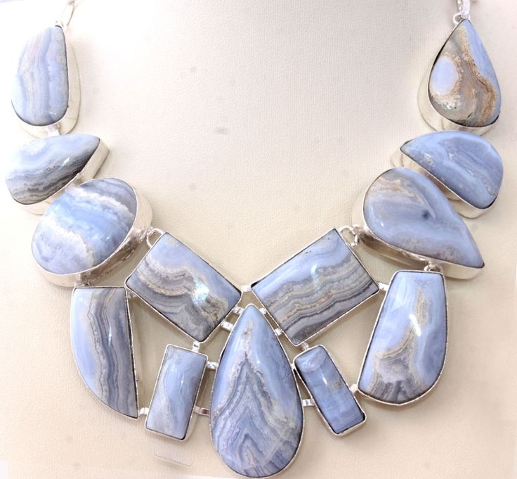 HUGE NATURAL BOTSWANA LACE AGATE FOR PARTIES 925 STERLING SILVER NECKLACE S1514 #925silverpalace #Charm