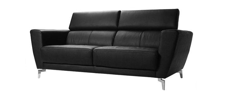 Canapé cuir design trois places avec têtières relax noir IDAHO - Cuir de vachette
