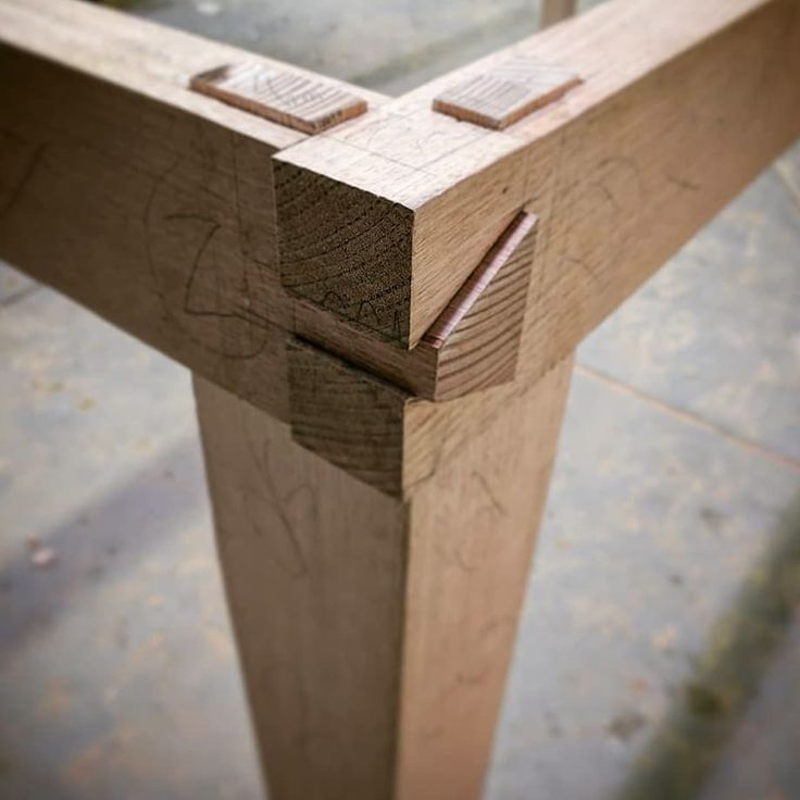 Test piece, rails dovetailed with leg tenons cut t…