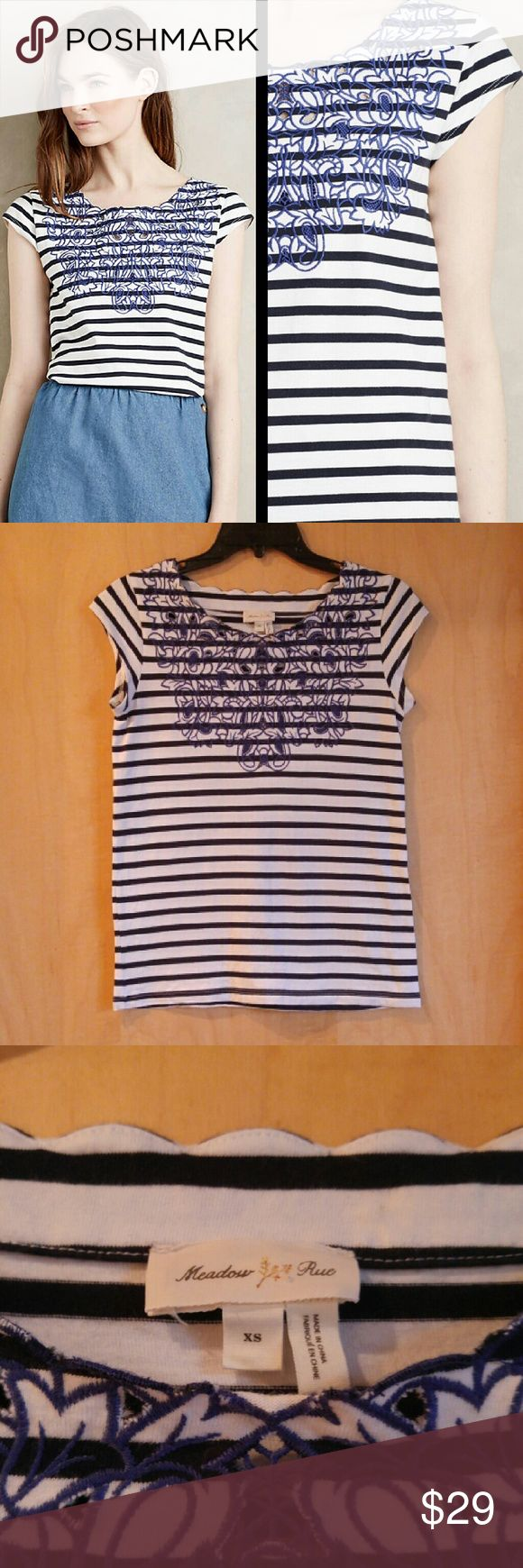 Meadow Rue Blue Palermo Embroidered Striped Tshirt Meadow Rue brand top from Anthropologie, size XS, in perfect condition! Features gorgeously intricate embroidery on front and a scalloped neckline edge. Stripes are navy and white. Perfect t-shirt for dressing up or down! Cover photo from Anthro website. Please ask any questions. No trades. Make a reasonable offer. Thanks! Anthropologie Tops Blouses