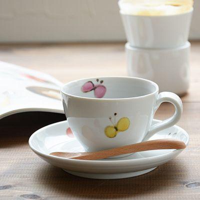 九谷青窯米満麻子色絵蝶/マグカップ(新作)【ご飯茶碗よねみつあさこ九谷焼うつわ和食器作家陶磁器ゆのみマグ青窯くたにせいよう】