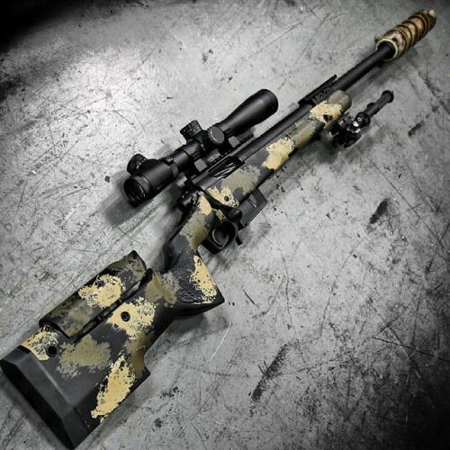 By @metalhead_1 Longbow. The @accurateordnance M24-AO with @leupoldoptics scope, AAC Cyclone suppressor, and Atlas bipod at @otbfirearms. Designed specifically by request of a contracting firm to be used for counter terrorist sniper teams. Basically a modern version of an M24/M40 style sniper rifle.