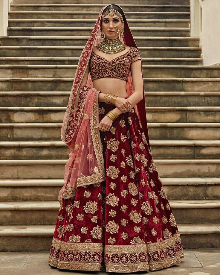 Gold & Red Bridal Lehenga Choli | Beautiful Embroidery Work on Skirt | Designed by Sabyasachi Mukherjee | 'Heritage Bridal' Collection