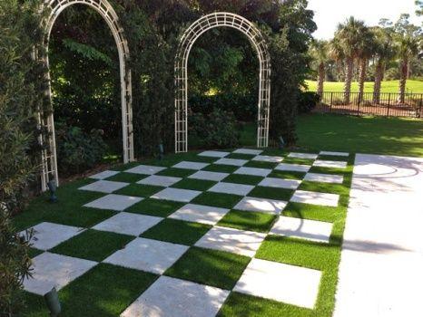 Artificial grass checkerboard driveway pinterest for Checkerboard garden designs