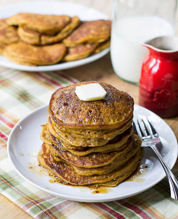 Pumpkin Pancakes with Bourbon Vanilla Maple Syrup | How To Make Pancakes | Easy Pancake Recipe From Scratch | How To Make A Special Breakfast by DIY Ready at http://diyready.com/how-to-make-pancakes-breakfast-recipes/