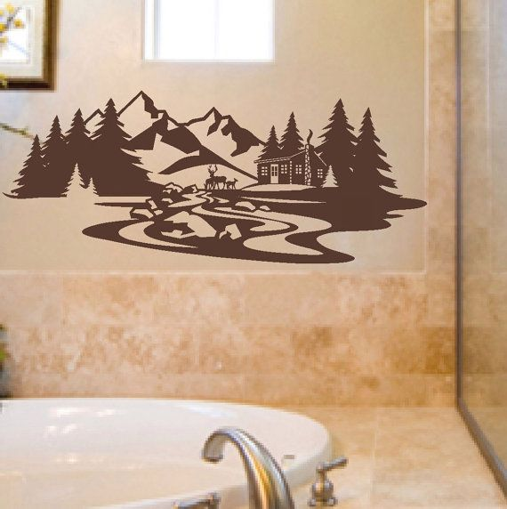 Vinyl Wall Lettering Art Mountain Cabin Deer door WallsThatTalk