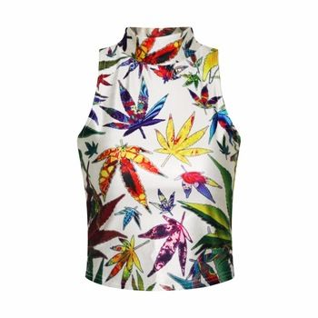 The latest clothing 2015 women's Strapless temperament high-necked tops floral 3D digital printing two side wear tank tops Price: US $6.6