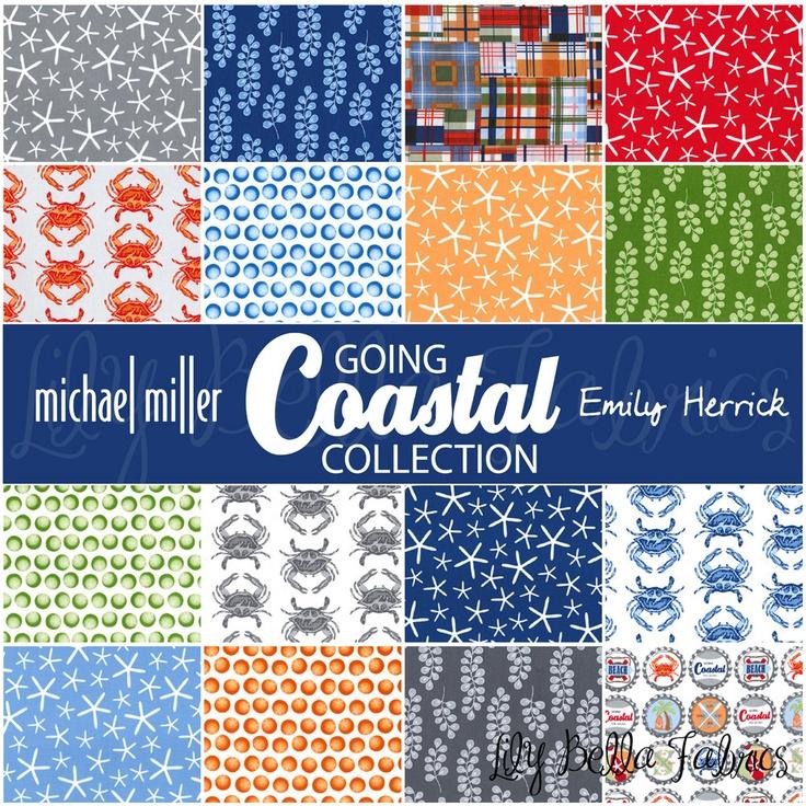 Emily Herrick for Michael Miller - GOING COASTAL - Crab Walk in Blue - 1/2 yard. $4.75, via Etsy.