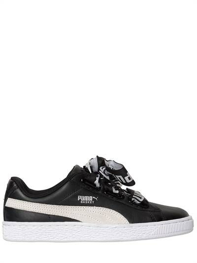 PUMA SELECT, Basket heart leather sneakers, Black