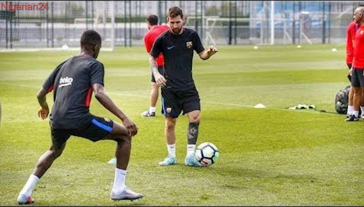 Ousmane Dembele with Lionel Messi First training Day HD 1080p