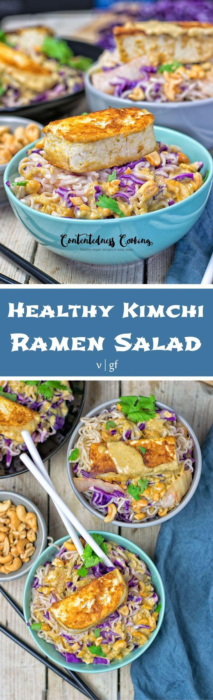 Healthy Kimchi Ramen Salad | #vegan #glutenfree www.contentednesscooking.com