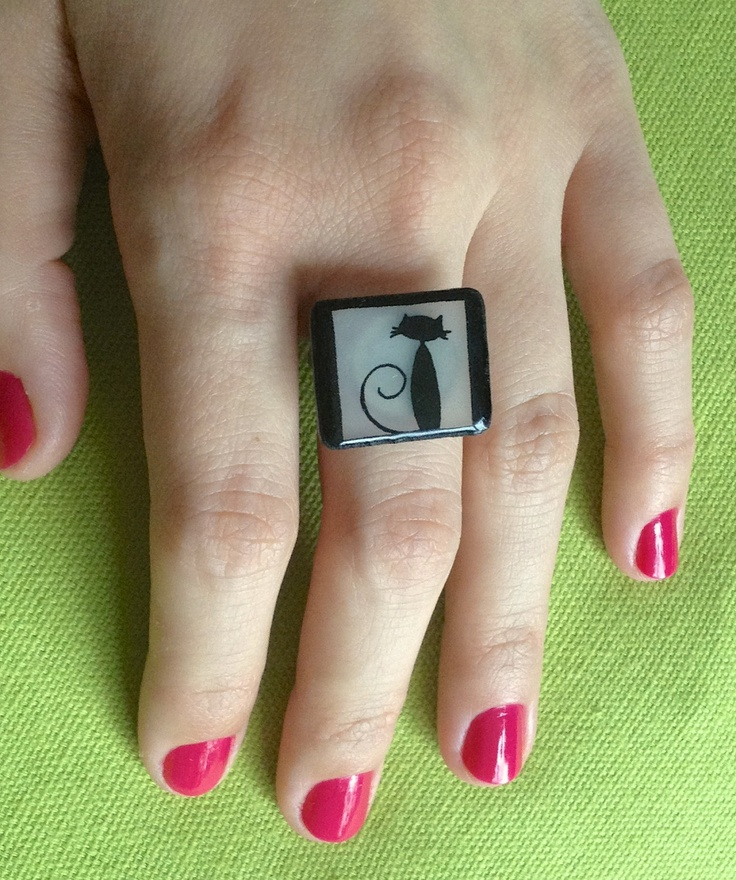 Unique shrink plastic ring with a cute black cat -  handmade adjustable. £8.00, via Etsy.