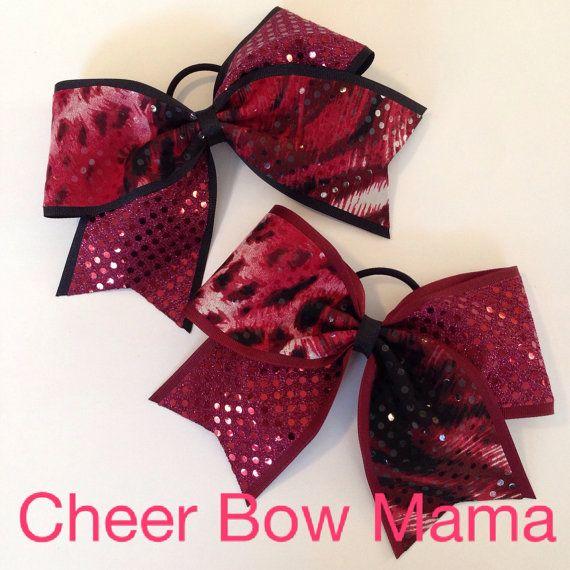 Maroon Cheer Bow with Mixed Animal Print on Maroon or Black Base Ribbon by Cheer Bow Mama