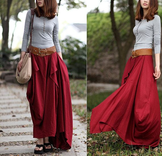 Summer Maxi skirt Long Linen Skirt In Rose Red by FashionColours, $74.99