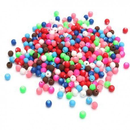 Mix margele colorate,  acrilic, rotunde mate