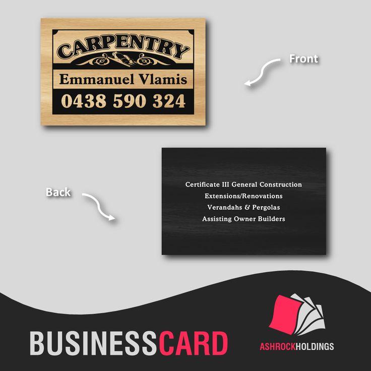 Carpentry Business Card | #bsuinesscard #carpentry #builder #printer #cmyk #ashrockholdings #printing #offset
