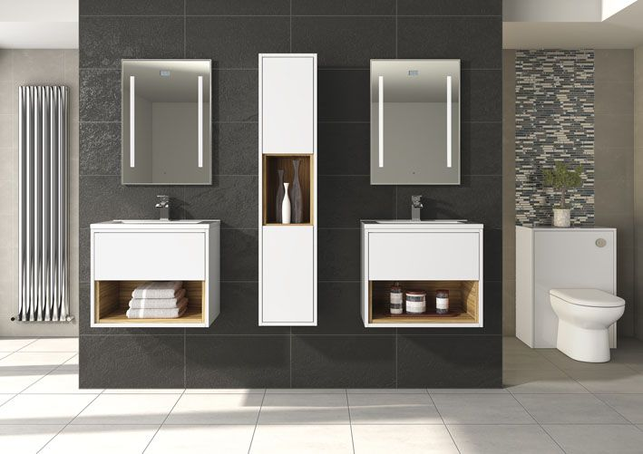 Create symmetry with a number of units across one wall.  Twin basins are a perfect addition for shared bathrooms.