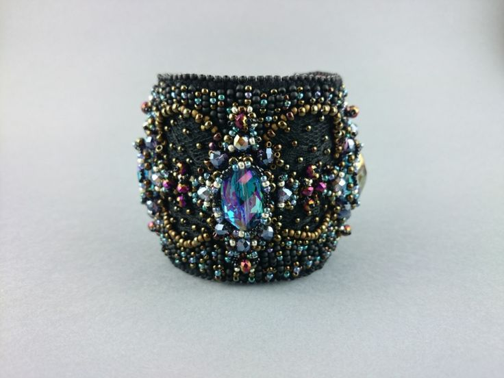 Buy Bead Embroidered Bracelet Jewelry in bead embroidery Handmade Bracelet Black antique Bronze bracelet - Try Handmade Gallery - Free Handmade Advertising