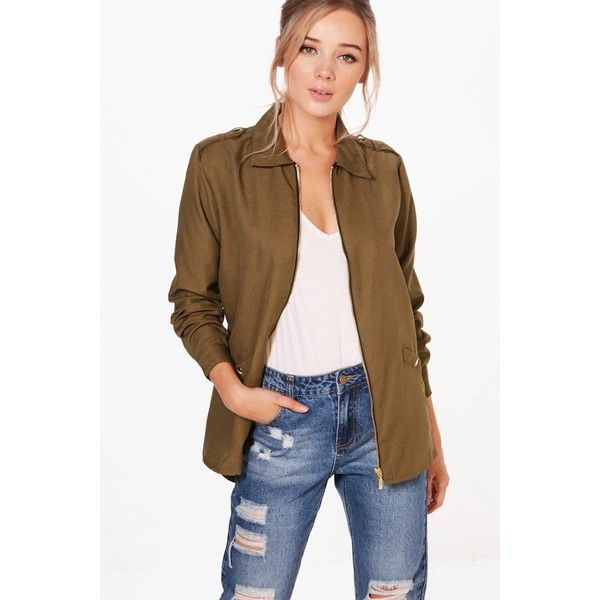 Boohoo Joanna Zip Front Utility Jacket ($32) ❤ liked on Polyvore featuring outerwear, jackets, puffer bomber jacket, longline jacket, brown duster coat, puff jacket and brown bomber jacket