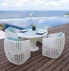 mesa de comedor redonda de terraza y jardn coleccin dynasty hamper