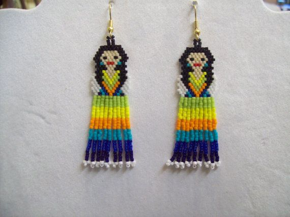 Native Mexican Style Fiesta Doll Beaded Earrings Southwestern, Boho, Hippie, Native Style, Great Gift Mother