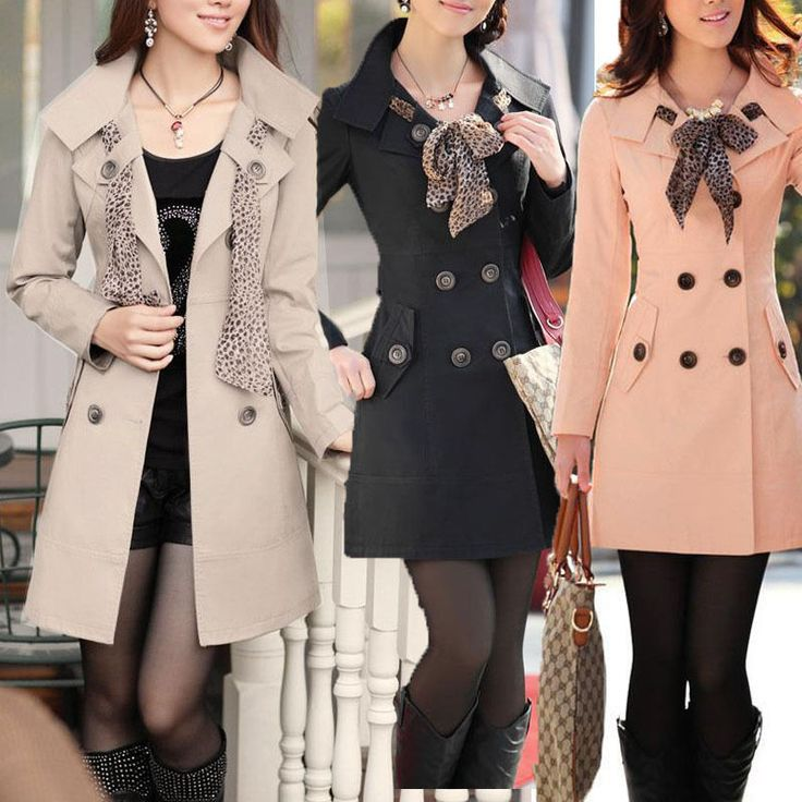 New Womens Long Sleeve Slim Fit Trench Double Breasted Coat Jacket Scarf Outwear #Unbranded #Trench