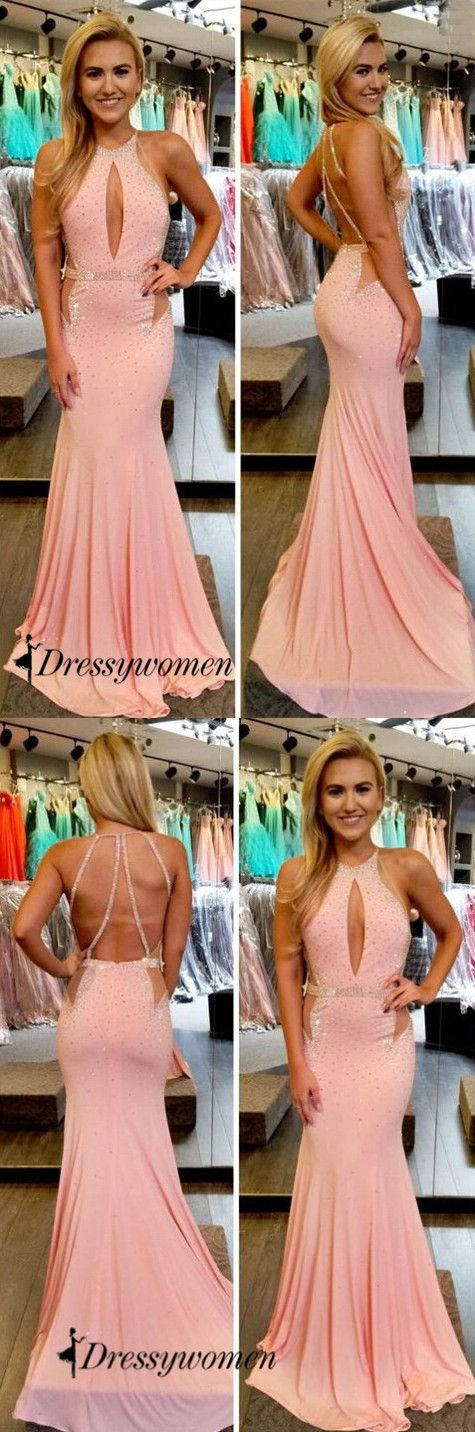 2016 prom dresses, mermaid prom dresses, pink prom dresses with sequins, long prom dresses with backless