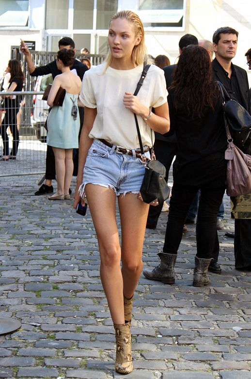 Candice Swanepoel STREET STYLE STYLE LOVELY IVORY CREEMOF WHITE SHIRT TOP DENIM JEAN CUT OFF SHORTS WESTERN SKINNY BELT ALEXANDER WANG MARION BAG SNAKESKIN PYTHON ANKLE BOOTS SUMMER LOOK INSPIRATION Photo by lefashion | Photobucket
