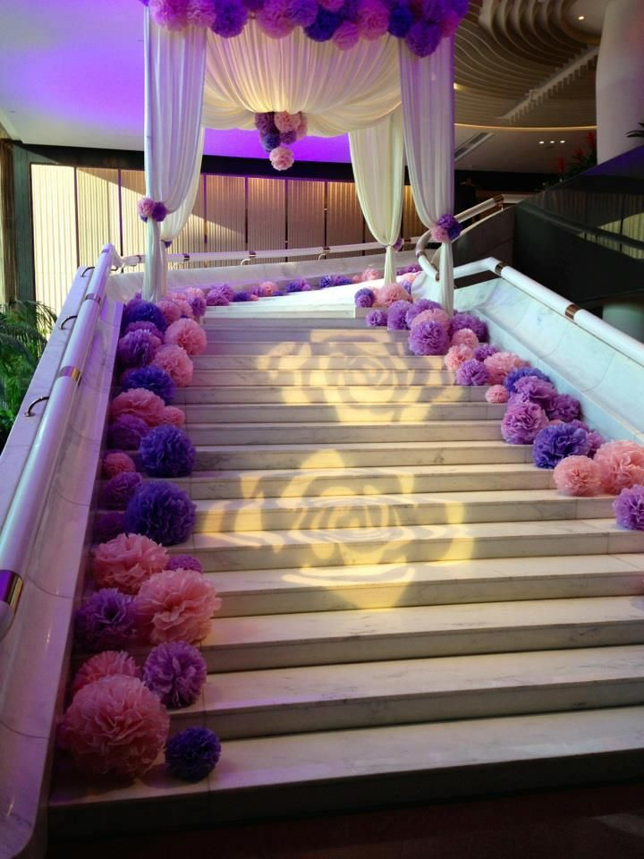Wedding decoration ideas stairs staircase decoration for festival wedding decoration ideas stairs pom staircase sarah s wedding colour junglespirit Images