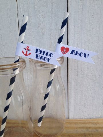 Vintage Sailor Baby Shower Straws Personalized Flags Anchor Sailboat