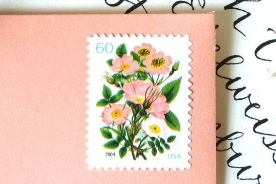 10 UNused Vintage Stamps Vintage Coral Flower Bouquet Postage Stamps for Wedding Invitations // Save the Date // Cards
