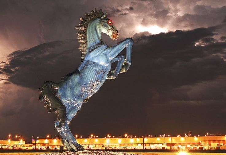 "Perhaps the creepiest exhibit at the Denver International Airport is a 32 foot high blue horse statue with glowing red eyes and bulging veins that weighs 9,000 pounds. Nicknamed ""Blucifer"" by local residents, the statue is meant to portray the Dark Horse Of The Apocalypse specifically representing death which is quite an odd choice for an airline. Even stranger is the fact that Luis Jiménez, the sculpting artist, was fatally wounded by the statue during the final stages of it's construction."