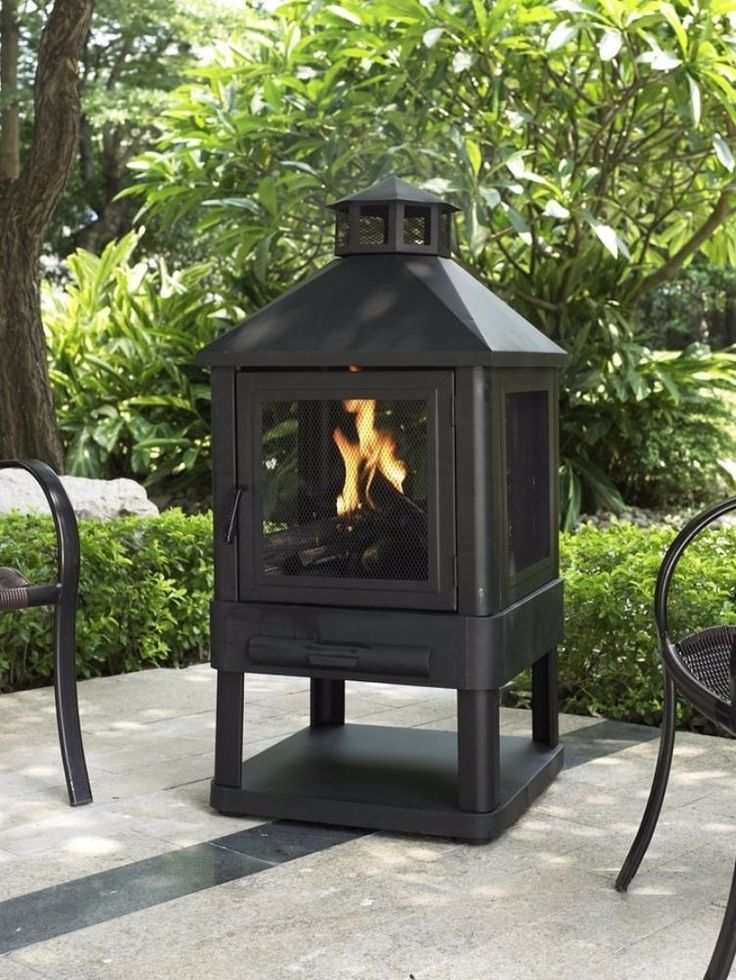 Black Steel Outdoor Firepit Patio Wood Patio Burning Fireplace Grate Heater #OutdoorFirePit