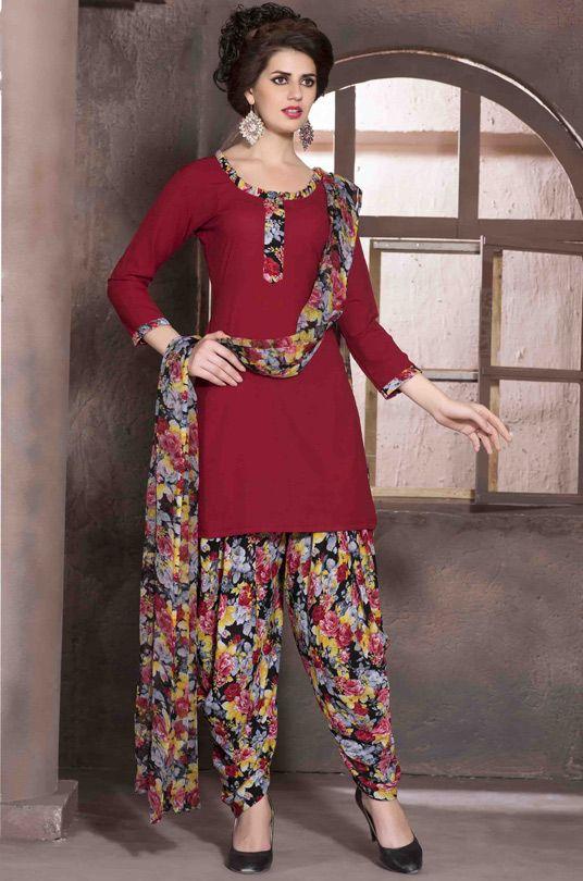 $17.81 Red Crepe Punjabi Suit 56170