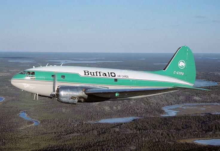 Buffalo Airways Curtiss C-46F Commando (CW-20B-4) (C-GTPO) in the vicinity of Yellowknife, NWT