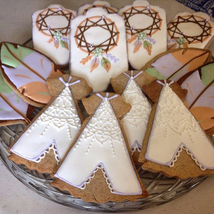 Tribal gender reveal baby shower cookies!