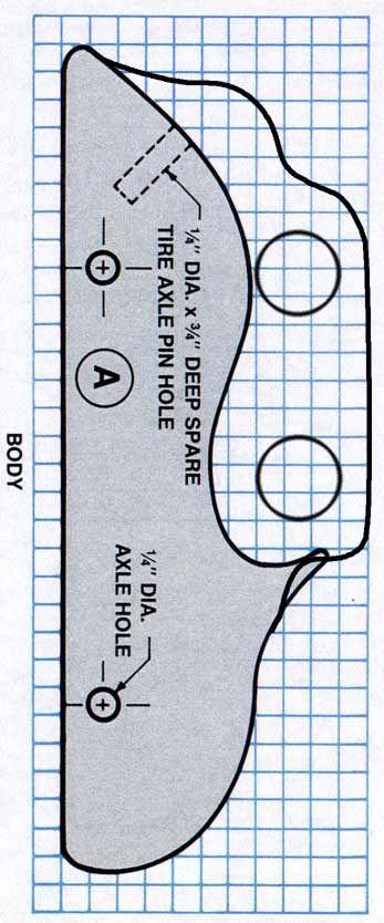"""Old-Fashioned Toy Cars A Corpo 1 pç3/4 x 2""""3 / 4 x 7""""1 / 2 ;BPára-lamas 2 pçs3/4 x 1""""3 / 4 x 7""""1 / 2; CRodas 4 ou 5 pçsdiâmetro de 1""""1 / 2 ;Eixo Pegs 4 ou 5 pçs1/4 de diâmetro.....cada quadrinho= 6 mm"""