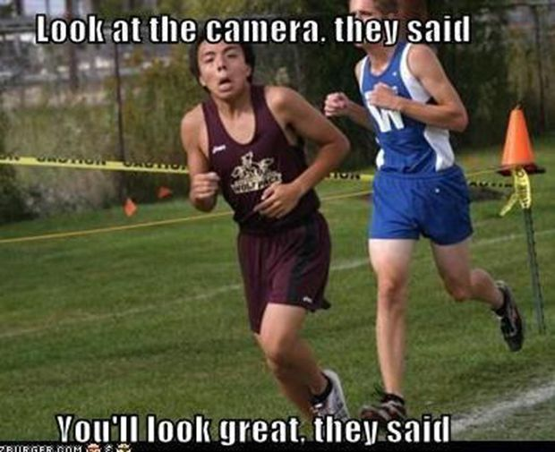 This is good advice gone awry for your race picture!  #running #funny