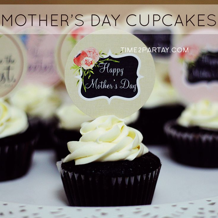 Time2partay.blogspot.com Mother's Day sweet cupcakes for an even sweeter mom! #mother #mom #homemade #toppers #holiday #mothersday #mothers #day #sweets