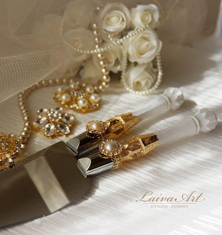 Gold Wedding Cake Server Set Knife Cutting