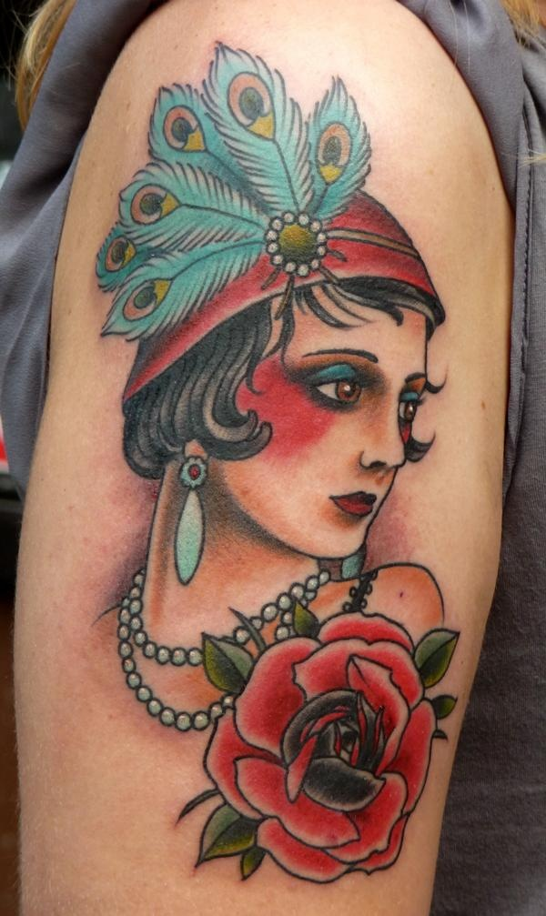 Part of my other thigh tattoo- prohibition/flappers/burlesque