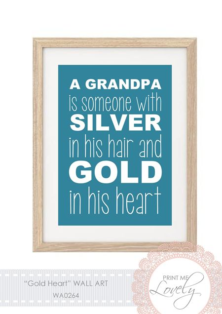 """""""GOLD HEART"""" Father's Day Wall Print A5 Cardstock 