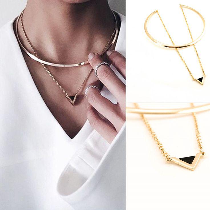 Moda collier femme dupla gargantilha colar banhado a ouro triângulo pingente collares colar marca de design de jóias XR1523 em Colares gargantilha de Jóias & Acessórios no AliExpress.com   Alibaba Group