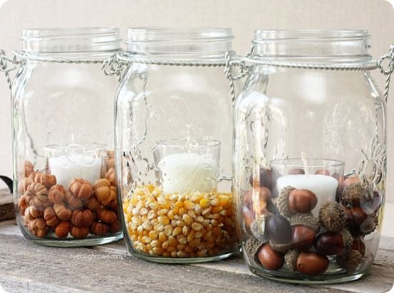 Sometimes it's the simple things that are the most beautiful... like these hanging mason jars filled with acorns and corn for fall. Find out how to get this Pottery Barn look for less!