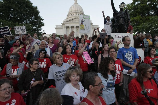 A major setback for Wisconsin workers - the courts upheld the KOCH and business-community 'inspired' law passed by Scott Walker (Act 10) stripping unions of the right to negotiate for wages and benefits. That's what you get for voting for those Repugnant c&*^$%#@+_!s. The rich can get the Repugnants to pass any law they want.