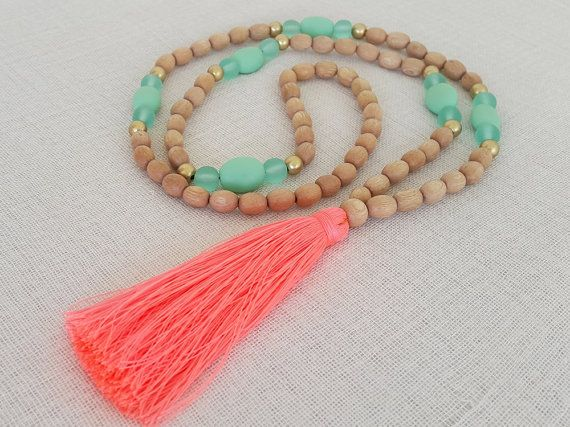 Mint, coral, gold and natural wood bead long tassel necklace with a neon coral tassel