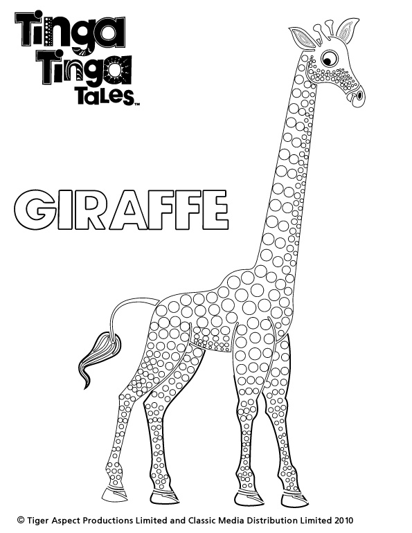 Tinga Tinga Tales Black and white picture of Giraffe