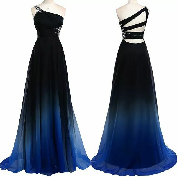 2016 Top Selling One Shoulder Beaded Prom Dresses,Open Back Gradient Chiffon Evening Dresses On Sale