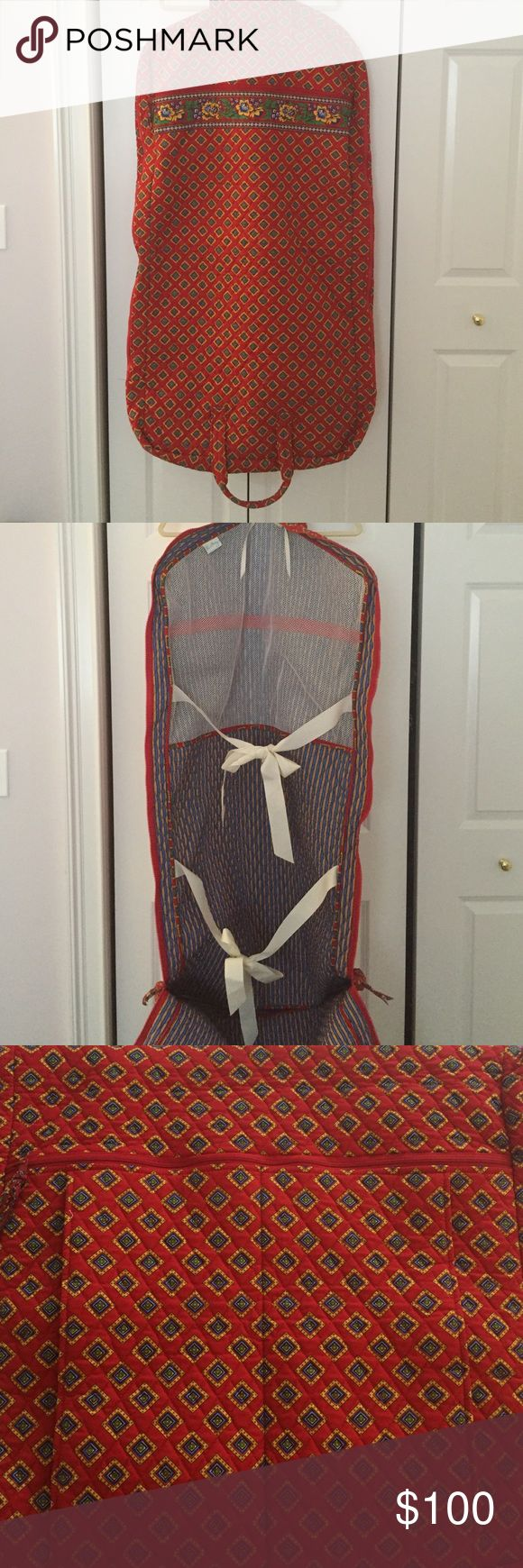 """Vintage Vera Bradley Garment Bag Vintage Vera Bradley Garment Bag in """"Villa Red"""" (pattern retired Summer 2005). Used once and in pristine condition! See photos for a look at the bag interior. Any and all questions about this piece are welcome! ❤️💛💙 Vera Bradley Bags"""